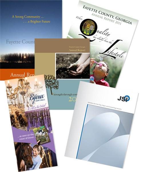Assortment of brochures designed by 11 Fingers