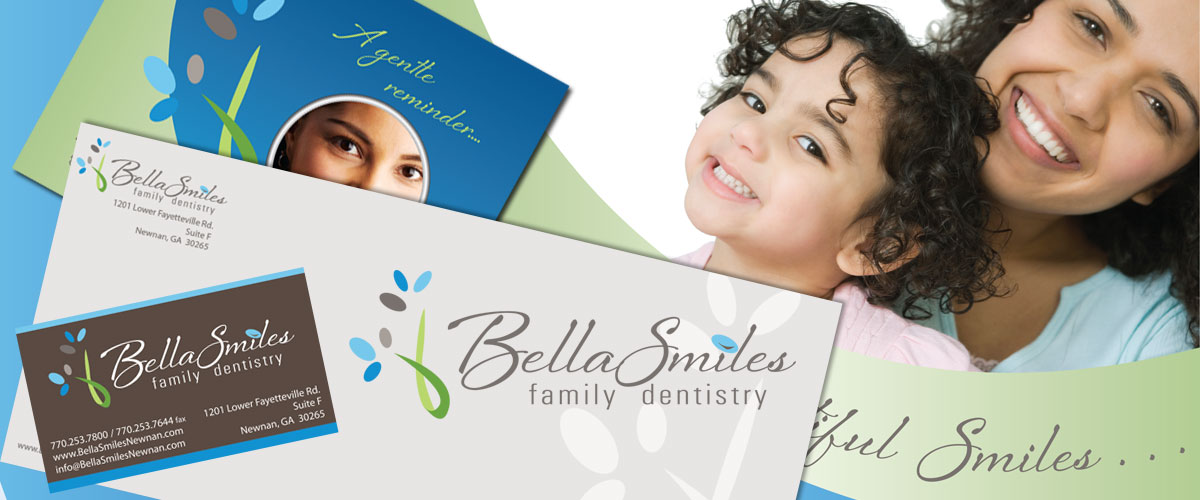 Bella Smiles Business Card, Letterhead and Brochure by 11 Fingers Design